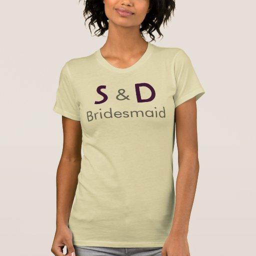 Dama de honor inicial del boda camisetas