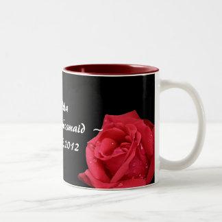 Dama de honor menor personalizada elegante del ros tazas de café