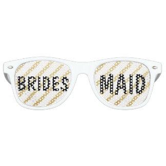 Dama de honor moderna del boda de la raya del oro lentes de fiesta