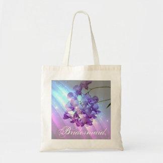 dama de honor púrpura de la orquídea del encanto e bolsas