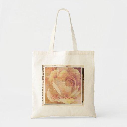 Dama de honor subió vintage botánico apenada bolsa tela barata