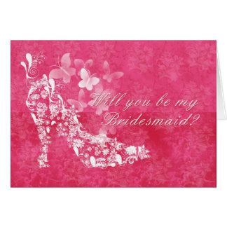 Dama de honor, usted será mi rosa y whi de la dama tarjeta de felicitación