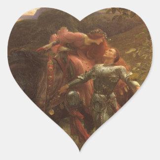 Dama de la belleza del La sin Merci, Dicksee, arte Pegatina Corazón