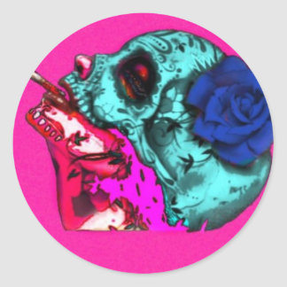 dama descorazonada classic round sticker