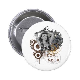 Dama noir del steampunk de la pulpa de la tecnolog pin redondo 5 cm