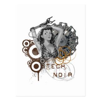 Dama noir del steampunk de la pulpa de la tecnolog tarjeta postal