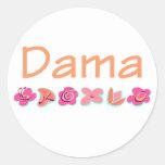 Dama (peach color) round sticker