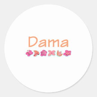 Dama (peach color) classic round sticker