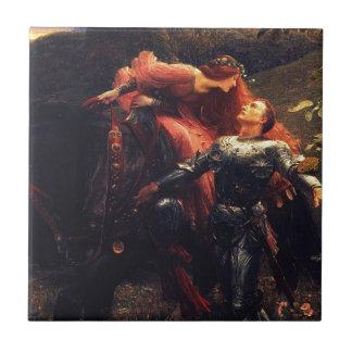 Dama Sans Merci [sir Frank Dicksee] de la belleza  Azulejo Cuadrado Pequeño