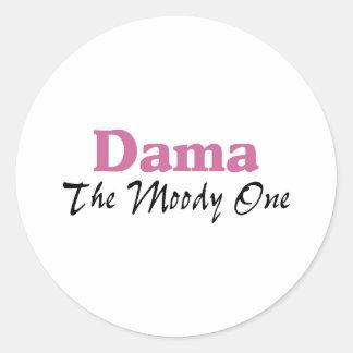 Dama The Moody One Classic Round Sticker