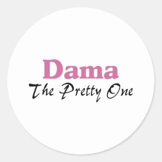 Dama The Pretty One Classic Round Sticker