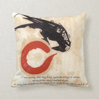 DAMAGE Raven Pillow with Milton Quote