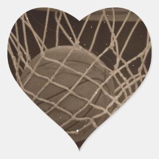 Damaged Basketball Photo Heart Sticker