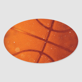 Damaged Basketball Photo Oval Sticker