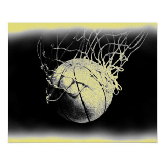 Damaged Old Photo Effect Basketball Poster