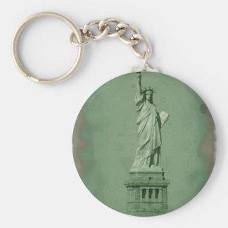 Damaged Photo Effect Statue of Liberty Basic Round Button Keychain
