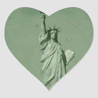 Damaged Photo Effect Statue of Liberty Heart Sticker