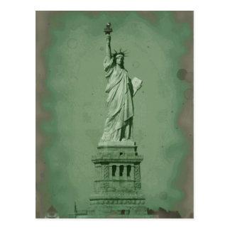 Damaged Photo Effect Statue of Liberty Postcard