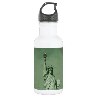 Damaged Photo Effect Statue of Liberty Stainless Steel Water Bottle