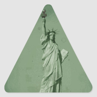 Damaged Photo Effect Statue of Liberty Triangle Sticker