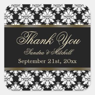 Damak black and white Thank you Square Sticker