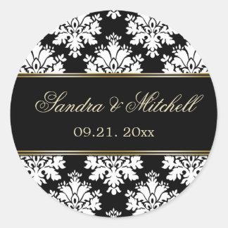 Damak black and white Wedding Classic Round Sticker