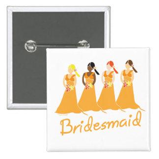 Damas de honor en asistente del boda del melocotón pin cuadrada 5 cm