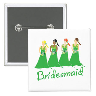 Damas de honor en asistente verde del boda pin cuadrada 5 cm