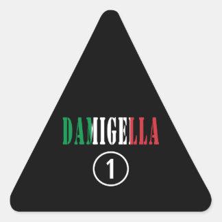 Damas de honor italianas: Uno de Damigella Numero Pegatina Triangular
