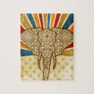 Damasco 01 del elefante del circo del vintage puzzle