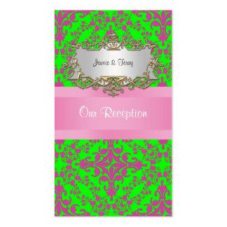 Damasco #3 del rosa y de la verde lima de la tarjetas de visita