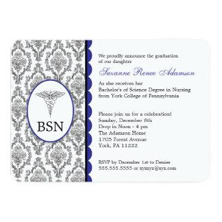 Damasco adaptable del azul de la graduación BSN RN Invitacion Personal