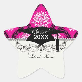 damasco adornado blanco negro de las rosas fuertes pegatina en forma de estrella