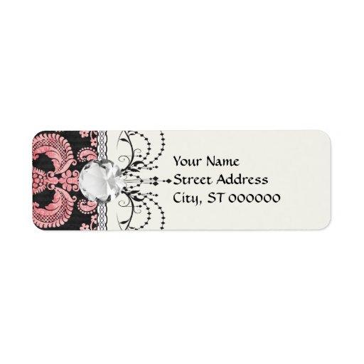 damasco adornado de la moda del fleur del rosa y d etiquetas de remite