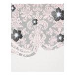 damasco adornado de la moda del fleur del rosa y d plantilla de membrete