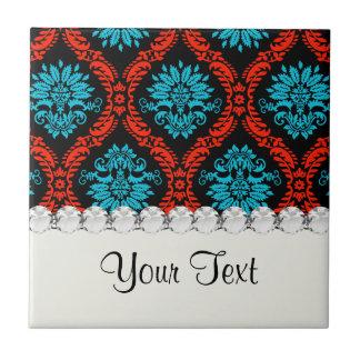 damasco adornado del rojo brillante y del negro az azulejo cuadrado pequeño