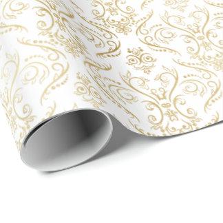 Damasco afiligranado 2 del oro - papel de embalaje papel de regalo