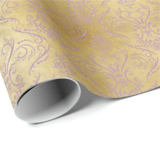 Damasco afiligranado púrpura en el oro - papel de papel de regalo