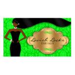 Damasco afroamericano del oro verde del estilista plantillas de tarjetas de visita