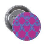 Damasco Aguamarina-Púrpura Pin Redondo 5 Cm