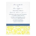Damasco amarillo azul de la recepción nupcial sola invitacion personalizada