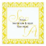 Damasco amarillo de las invitaciones del boda del invitación 13,3 cm x 13,3cm