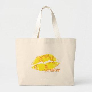 Damasco amarillo-naranja bolsa tela grande