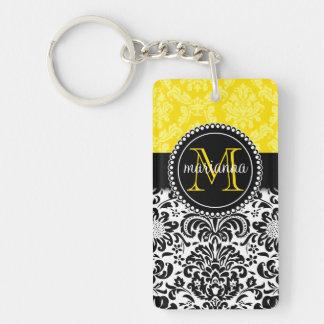 Damasco amarillo negro elegante personalizado llavero rectangular acrílico a una cara