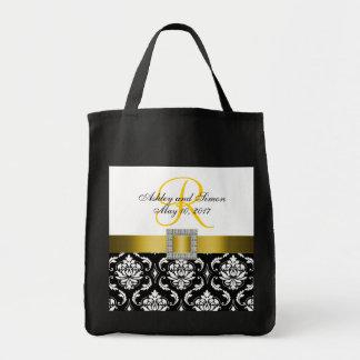 Damasco amarillo, negro personalizado casando la bolsa tela para la compra