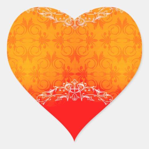 Damasco amarillo y anaranjado elegante pegatina de corazón