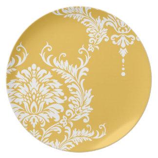 Damasco amarillo y blanco de la mostaza o platos para fiestas