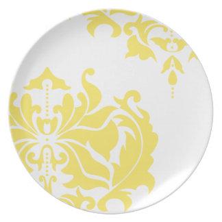 Damasco amarillo y blanco del vintage platos para fiestas