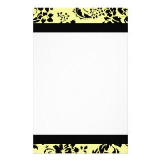 Damasco amarillo y negro papelería personalizada