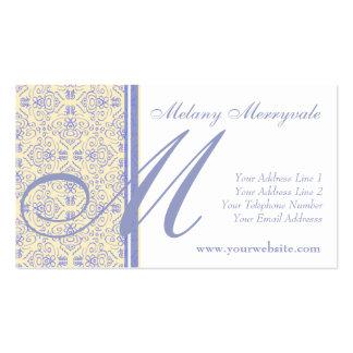Damasco amarillo y púrpura elegante de Scrollwork Tarjetas De Visita